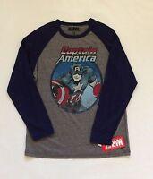 BNWT Marvel Captain America Men's Long Sleeve T-Shirt Sz Small Navy Blue & Gray