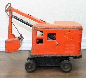 Vintage Marx Lumar Contractors Orange & Black Steam Shovel Pressed Steel Toy