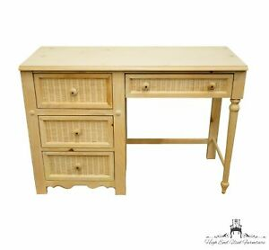 """STANLEY FURNITURE Chalais Collection Solid Knotty Pine and Wicker 44"""" Writing..."""