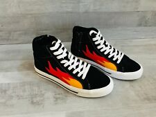 Zara Men Black Sneakers With Flames High Tops Side Zipper Shoes Size US 7