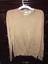 Madison Fine Pima Cotton Tan Mens Sweater, Size L