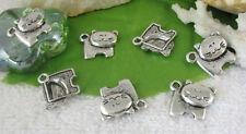 50pcs Tibetan silver cat charms FC10715