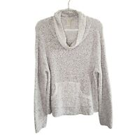 J. Jill Chunky Knit Gray Cowl Neck Sweater Women's M Long Sleeve Kangaroo Pocket