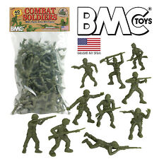BMC Classic LIDO GI Green PLASTIC ARMY MEN - 40pc WW2 Soldier Figures - USA Made