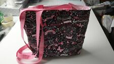 Black Breast Cancer Tote-Words-Symbols-Machine Quilted-Hand Made