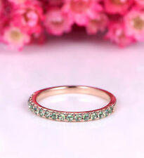 Delicate 1Ct Round Cut Green Emerald Engagement Ring Guard Band Rose Gold Finish