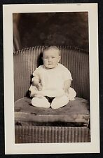 Antique Vintage RPPC Postcard Adorable Baby Sitting in Chair