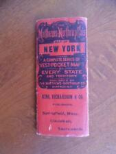1891 Matthews Northrup Co. Map of New York Vest Pocket Series Antique Original