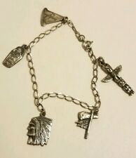 "Papoose Chief Tipi Hatchet 6.7 Grams 6 3/4"" L Sterling Silver Charm Bracelet"