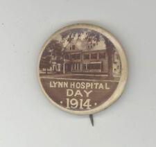 1914 LYNN MASSACHUSETTS Hospital Day RARE Advertising PINBACK Pin BUTTON Badge