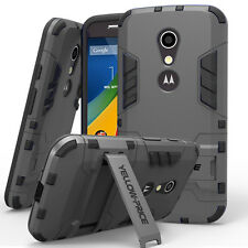 Rugged Grip Hybrid Hard Soft Armor Case Cover+Stand for Motorola Moto G 2nd Gen