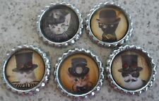 5 x Steam Punk Cats Inspired Flattened Bottle Caps - Great Magnets, Cards, Bows