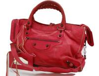 Authentic BALENCIAGA Classic City Editor's Leather Shoulder Bag Red 0504a