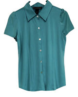 Dialogue Sz M Short Sleeve Button Down Shirt Blue Top A81486
