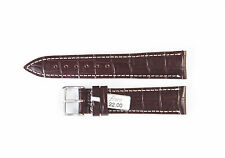 "FLUCO Genuine Cow Leather Alligator Grain 20 mm DARK BROWN Watch Band ""DA VINCI"""