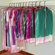 13 Clear Zippered Garment Bags Cloth Storage Suit Dress Shirt Covers Free NEW