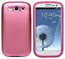 Pink 2-Layer Aluminum Metal Plate & Silicone Samsung Galaxy S3 SIII i9300 Case