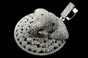 14K White Gold Plated Hip Hop Mens Fashion Elephant Coin ICED Bling Pendant