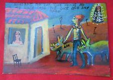 Mexican Folk Art Miguel Hernandez Woman Sees Green Man & Zombie Pigs Ex Voto
