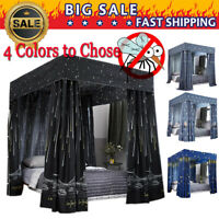"""Windproof Lightproof Anti-Glare"" 4 Four Corner Bed Curtain Canopy Mosquito Net"