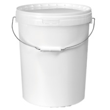 25 Litre White Plastic Bucket with Lid Container pail storage container