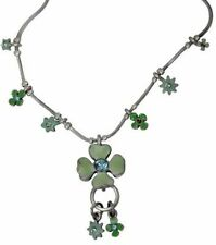 NEW PILGRIM DE SILVER NECKLACE CHAIN CRYSTALS GREEN ENAMEL DAISY FLOWERS CHARM