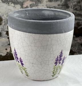 Übertopf Lavendel, Terracotta, rund, Ø 14 cm, Blumentopf, Shabby Look, Landhaus