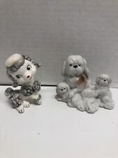 2 Porcelain Puupy Figurines White/gray Poodle And Maltese Family?