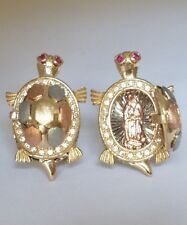 14k yellow white rose Turtle earrings  opens to Mother virgin Mary .95 inch long