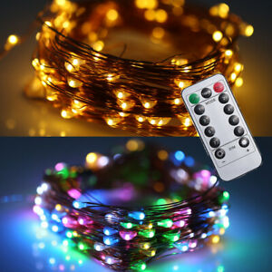 50/100/200 LED USB Remote Battery Powered Micro Wire Copper Fairy String Lights