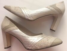 Regale By Ricks Uk8 Grey Silver Beige Leather Court  Special Events Evening Wear