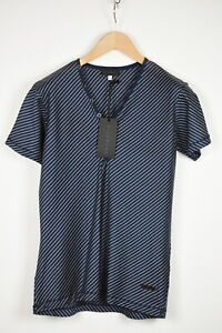 JOHN RICHMOND Men's LARGE Short Sleeve Striped Half Buttons T-Shirt 38594_ES