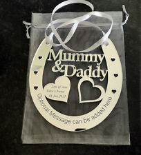 Personalised Mummy and Daddy Good Luck Horseshoe Wedding Aniversary Bridal Gift