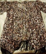 Lularoe Leopard Monroe Cover Up Black Fringe Large Unicorn