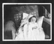 C1930s Photo: Baby Lying on a Deco Style Arm Chair