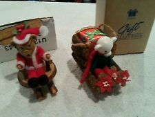 Avon Log Cabin Cutie Ornament in box - Teddy Bear on Chair and Polar Bear Sled