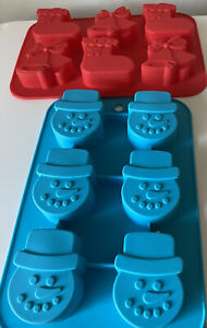 2 SILICONE MOULD Christmas Stockings Snowmen  Presents