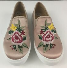 Dirty Laundry Embroidered Womens Peach Satin Slip on Sneakers US 6.5 EU 37 NWOB