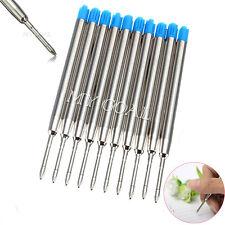 10pc Blue Ballpoint Pen Gel Refill Ball Point Parker Medium Compatible Ink 0.7m