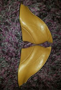 New w/out original box Wedge BOOTIES Tan Leather DEEP Vamp Booties fit a sz10