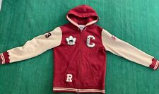 Men's Roots Canada Varsity Zip Up Jacket Hooded Size M Red  Beige Patches