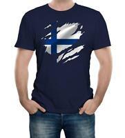 Torn Finland Flag Men's T-Shirt Finnish Helsinki Country national football