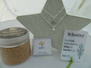 UNIQUE FAITH AS A MUSTARD SEED FROM HOLY ISLAND PENDANT NECKLACE & FREE BOOKMARK