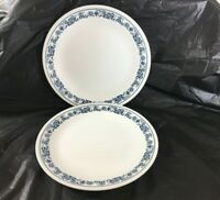 "Corelle Corning Dinner Plates Old Town Blue Onion 10 1/4"" Lot of 2 Blue White"