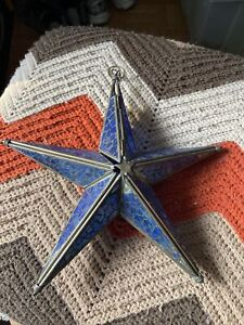 Vintage Hanging Blue Glass and Metal Star