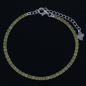 925 Sterling Silver White Gold Plated Green Cubic Zirconia Woman's Bracelet