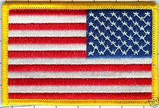 """Lot of 10 American Flag  Patch-Star Field Right, Gold Border 3 1/2"""" X 2 1/4"""""""