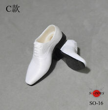 SO-TOYS 1/6 Scale White Shoes Male Man Leather Shoes With Ball Joint Inside