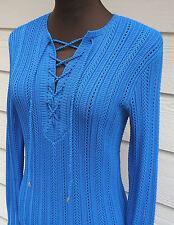 NEW $998 Ralph Lauren Black Label S Blue Open-Knit Lace-Up Tunic