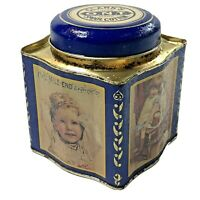 """Clarks Mile End Spool Cotton ONT Empty Tin Canister Coats & Clark Blue 5"""" X 4"""""""